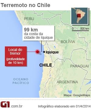 vale este - mapa terremoto chile 1/4 (Foto: Arte/G1)