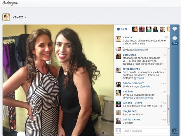Imagem postada por Ivete Sangalo, ao lado de Marisa Monte, em seu perfil no Instagram na sexta-feira (11) (Foto: Reprodução/Instagram)