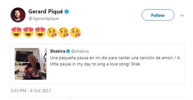 Piqué: emojis apaixonados para Shakira no Twitter (Foto: Reprodução Twitter)