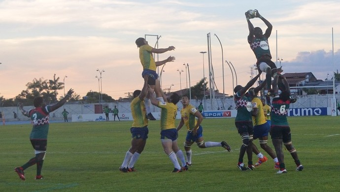 Brasil e Quênia pela Taça dos Hemisférios de rugby no Amapá (Foto: Rafael Moreira/GE-AP)