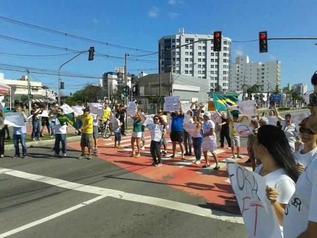 Protesto contra Dilma, em Vitória (Foto: Vinícius Valfré/ A Gazeta)