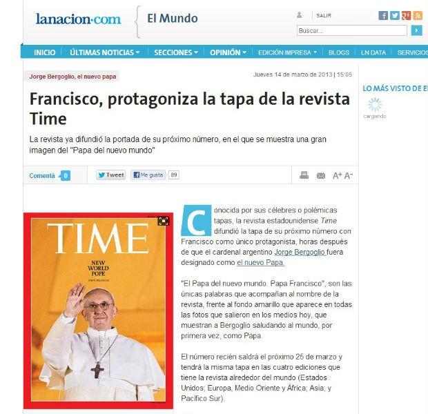 Revista Times repercute escolha de novo Papa Francisco. (Foto: Reprodução/La nacion)