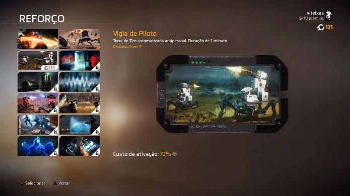 Titanfall 2: opções de reforços no modo multiplayer (Foto: Reprodução/Victor Teixeira)