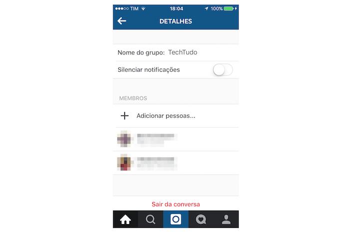 Tela de informações de um grupo do Instagram (Foto: Reprodução/Marvin Costa)
