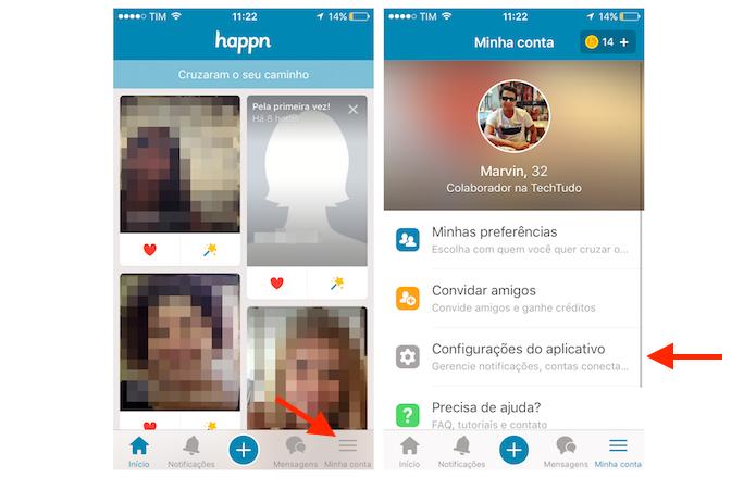 Acessando as configurações de Happn no iPhone para desativar notificações (Foto: Reprodução/Marvin Costa)