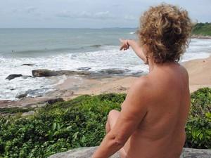 Glacy Machado, praticante de naturismo, na excursão Naturistas pelo Brasil (Foto: Divulgação/Portal Brasil Naturista)