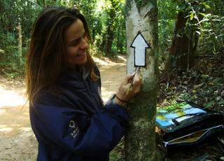 Sinalização da Trilha Transcarioca (Foto: Rafael Duarte)