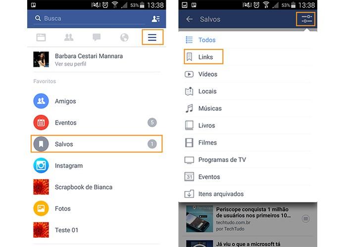 Acesse o menu do Facebook e procure pela categoria nos itens salvos (Foto: Reprodução/Barbara Mannara)
