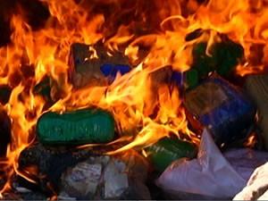 Maconha e cocaína foram destruídas (Foto: Reprodução/TV Tapajós)