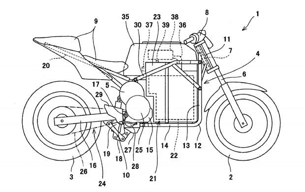 Potente mostra moto elétrica da Kawasaki com cara de Ninja (Foto: USPTO)