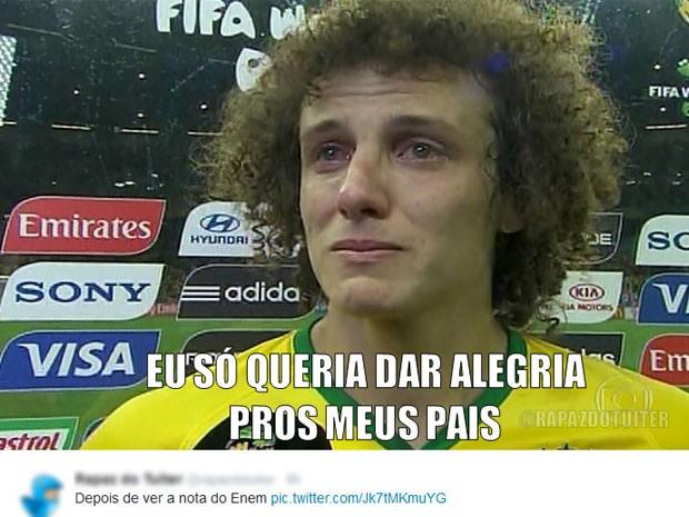 Este internauta fez uma paródia sobre as declarações do zagueiro David Luiz após a goleada do Brasil para a Alemanha na Copa do Mundo (Foto: Reprodução/Twitter/Rapaz do Tuiter)