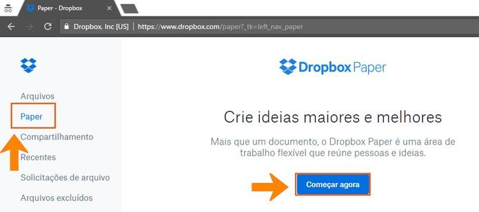 Abra o Dropbox Paper no computador (Foto: Reprodução/Barbara Mannara)