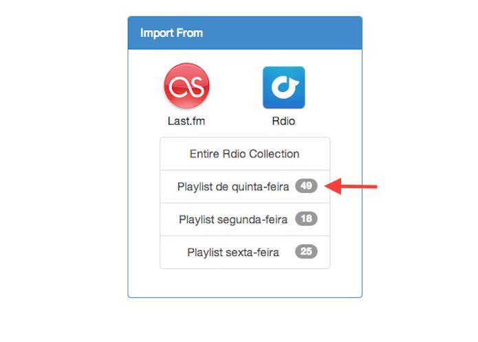 Definindo a playlist que será transferida do Rdio para o Spotify com o Playlist Exchance (Foto: Reprodução/Marvin Costa)