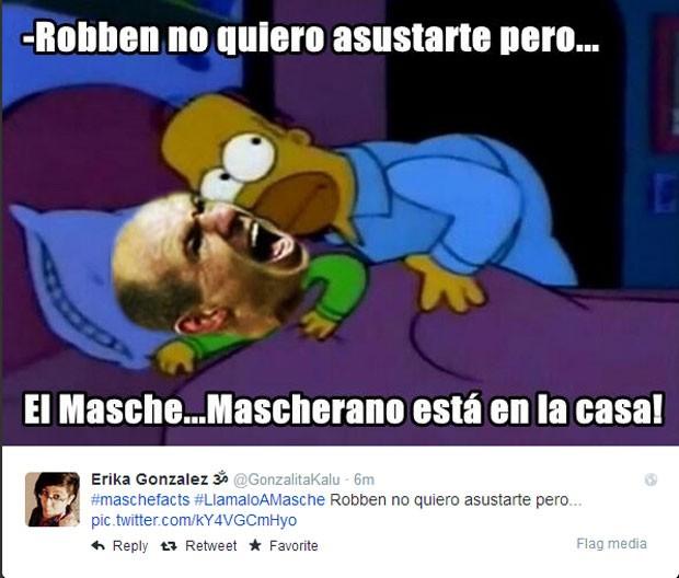 'Robben, não quero te assustar, mas o Masche, o Macherano está em casa', diz o meme (Foto: Reprodução/Twitter)