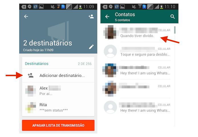 Adicionando um contato a uma lista de transmissão do WhatsApp para WhatsApp (Foto: Reprodução/Marvin Costa)