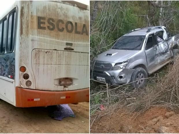 Acidente entre picape e ônibus ocorreu na tarde desta segunda (Foto: Corpo de Bombeiros/Divulgação)