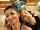 Grazi Massafera e Anna Lima posam de 'cara lavada' após treino
