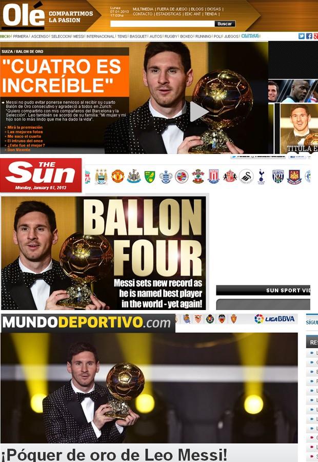 mosaico jornais fifa prêmio bola de ouro melhor do mundo (Foto: Reprodução)