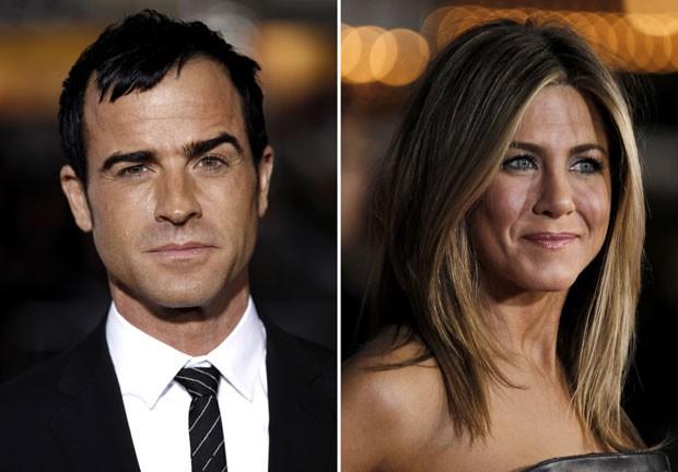 O casal Justin Theroux e Jennifer Aniston, que anunciaram noivado neste domingo (12) (Foto: AP)