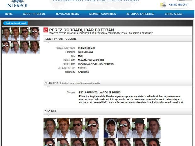 Segundo a polícia, Corradi era operador do traficante mexicano 'El Chapo'. (Foto: Reprodução/Interpol)