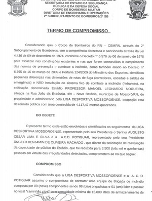 Súmula do jogo entre Potiguar de Mossoró e Baraúnas, pelo Campeonato Potiguar (Foto: Reprodução)