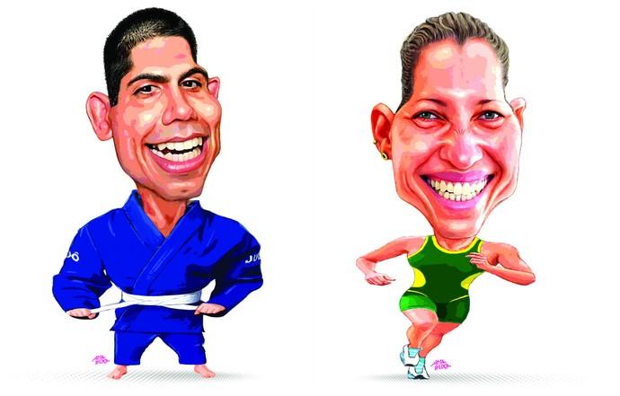 Nacif Elias (judô) e Pâmella Oliveira (triatlo) (Foto: Amarildo/Ed. de Artes/A Gazeta)
