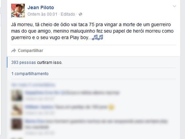 Em uma rede social, Jean Piloto jurava vingança aos assassinos de Playboy (Foto: Reprodução/ Facebook)
