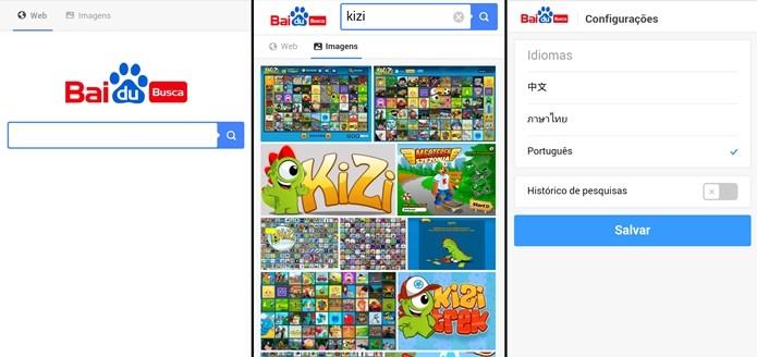 Versão mobile do buscadoe Baidu (Foto: Reprodução/Raquel Freire)