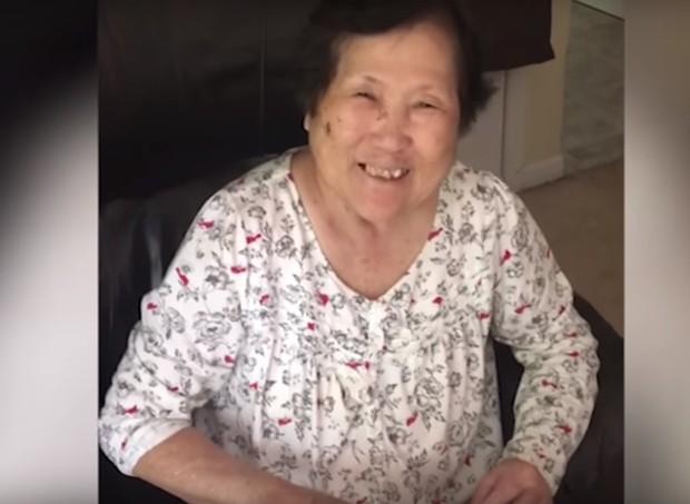 Setsuko Harmon ficou muito feliz cada vez que soube da gravidez da filha  (Foto: Reprodução/Youtube)