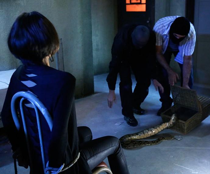 Cena com cobra é gravada com dublê (Foto: Ellen Soares/Gshow)