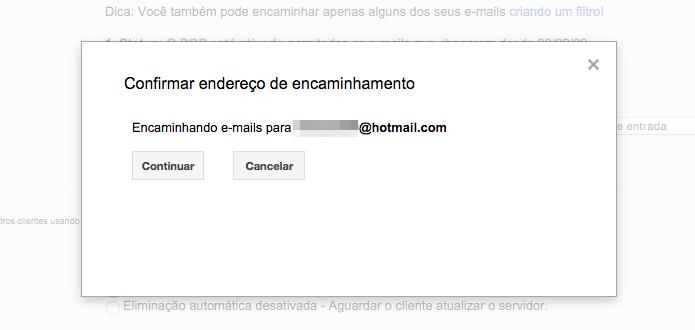 Configurando o encaminhamento de e-mails do Gmail (Foto: Reprodução/Helito Bijora)