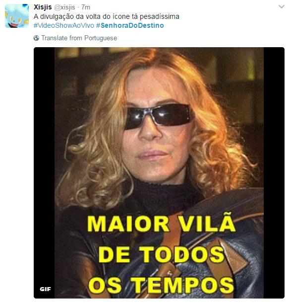 Fãs comemoram a volta de 'Senhora do destino' no Twitter (Foto: Reprodução)