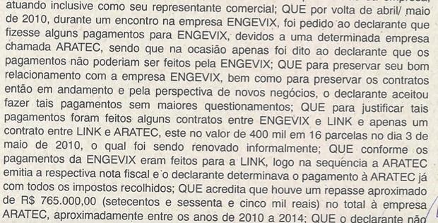 Trecho de depoimento de Victor Colavitti em acordo de delação premiada