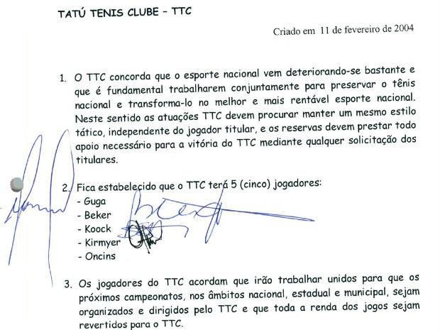"""Documento indica """"normas"""" de torneio de tênis  (Foto: Reprodução )"""