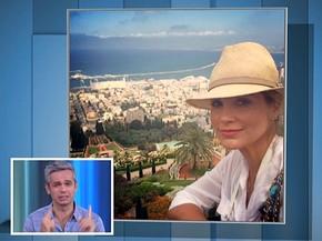 Flávia Alesandra posa para foto no mar da Galiléia (Foto: Vídeo Show / Gshow)
