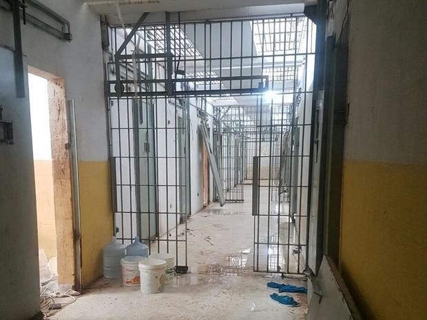 Pavilhão 5 de Alcaçuz após rebeliões neste mês de janeiro (Foto: G1 RN)