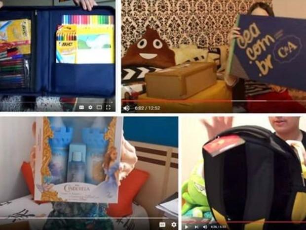 Cenas dos vídeos em que alguns 'youtubers' mirins abrem presentes enviados por empresas que constam na denúncia  (Foto: Reprodução/ YouTube/ BBC)