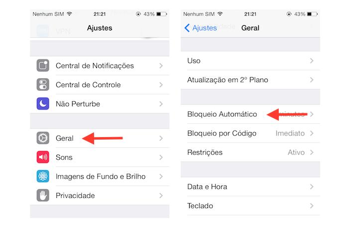 Acessando as opções de bloqueio automático do iOS (Foto: Reprodução/Marvin Costa)
