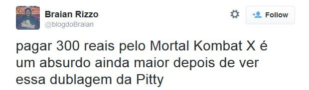 Fã reclama de dublagem de Pitty no game 'Mortal Kombat X' (Foto: Reprodução/Twitter)
