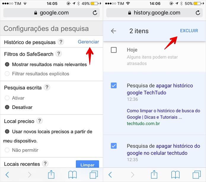 Apagando itens do histórico de buscas do Google (Foto: Reprodução/Helito Bijora)