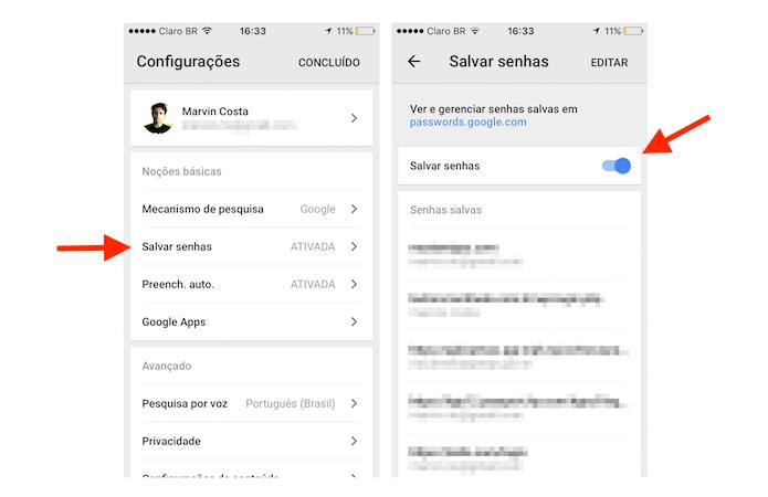 Desativando a função para salvar senhas do Google Chrome para iPhone (Foto: Reprodução/Marvin Costa)