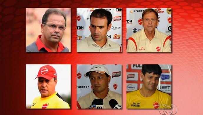Técnicos do Vila Nova em 2014 (Foto: Reprodução/TV Anhanguera)