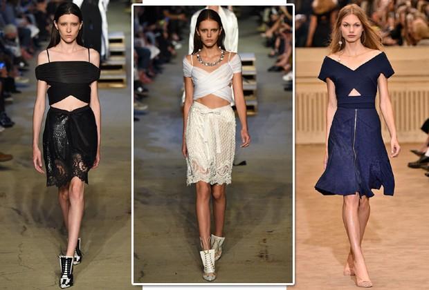 Top cropped cruzado nas passarelas da Givenchy, Roland Mouret e Cushine et Ochs (Foto: Imaxtree)