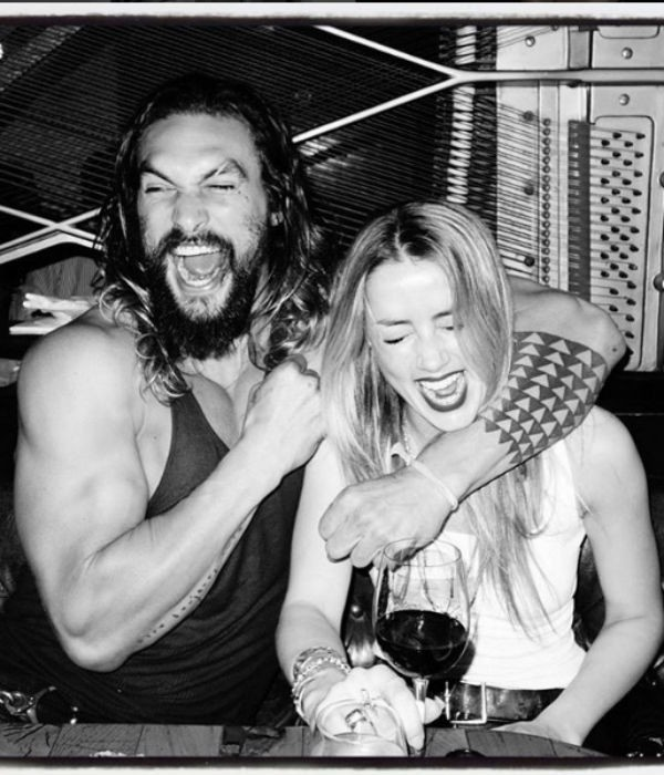 Amber Heard com o colega e ator Jason Momoa (Foto: Reprodução/Instagram)