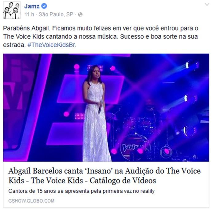 Banda Jamz elogiou apresentação de Abgail Barcelos em rede social (Foto: Reprodução)