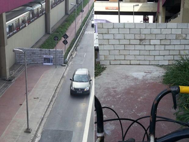 Muro interrompe o percurso dos ciclistas na Radial Leste, ao lado da estação Carrão do metrô. (Foto: Alexandre Sato/VC no G1)