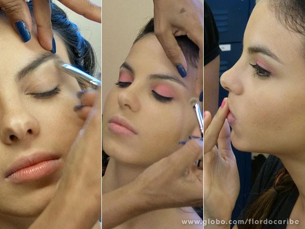 Aprenda a fazer o make colorido de Amaralina (Foto: Flor do Caribe / TV Globo)