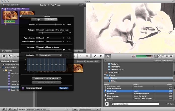 No inspetor de áudio, você altera as propriedades de músicas e efeitos sonoros do seu filme (Foto: Reprodução/ Lu Fávero) (Foto: No inspetor de áudio, você altera as propriedades de músicas e efeitos sonoros do seu filme (Foto: Reprodução/ Lu Fávero))