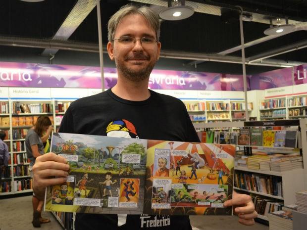 Saulo Michelin ilustrou história sobre o palhaço Biriba (Foto: Rodolfo Tiengo/ G1)