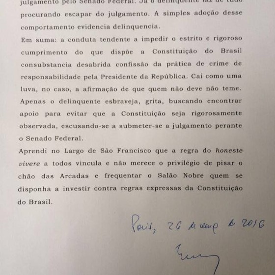 Trecho da carta de Eros Grau em defesa da legalidade do impeachment  (Foto: Divulgação )